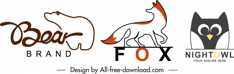 animals logotypes bear fox owl sketch handdrawn flat