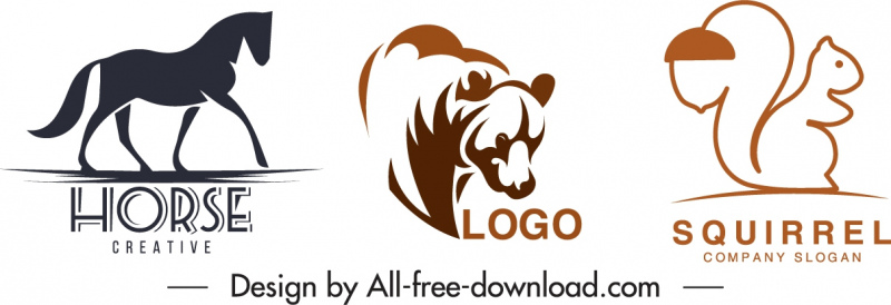 animals logotypes flat handdrawn sketch