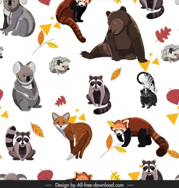 animals pattern bear fox raccoon squirrel koala icons