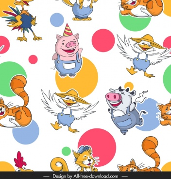 animals pattern stylized pigs cat cow duck icons