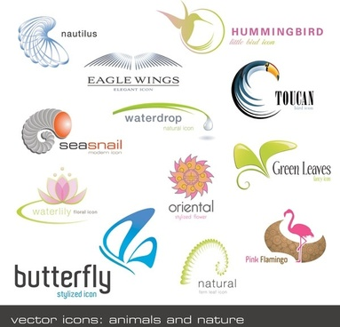 animals plants shape logo template vector