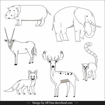 animals species icons black white design handdrawn sketch
