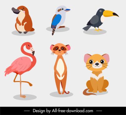 animals species icons colored cartoon sketch