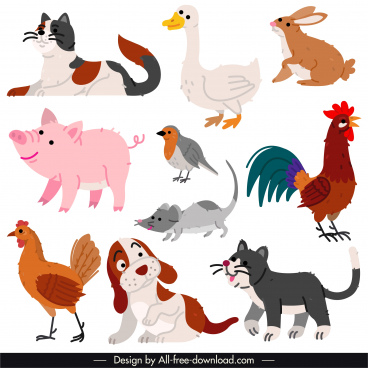 animals species icons colored retro handdrawn sketch