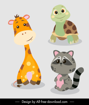 animals species icons cute cartoon giraffe turtle racoon sketch