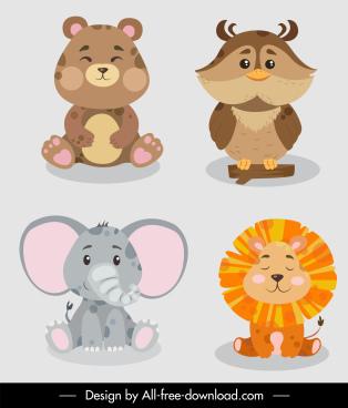 animals species icons elephant lion owl bear sketch