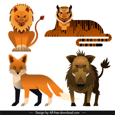 animals species icons lion tiger fox boar sketch