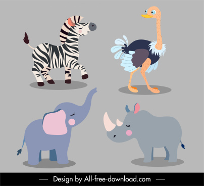 animals species icons zebra ostrich elephant rhino sketch