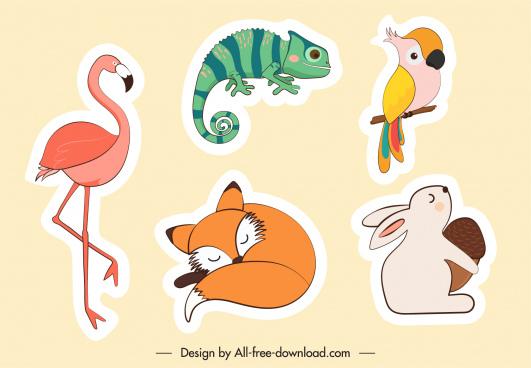 animals stickers flamingo parrot rabbit fox salamander sketch