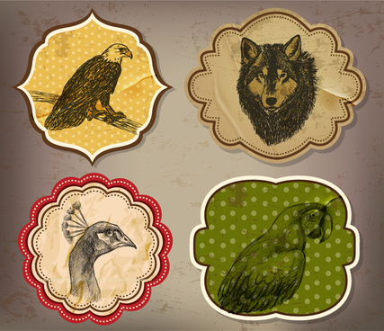 animals stickers sets illustration with shaped retro style