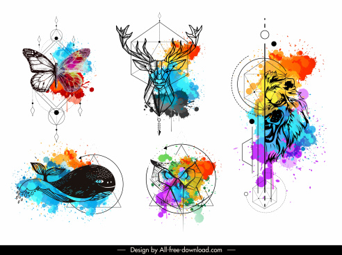 animals tattoo templates colorful grunge polygonal handdrawn sketch