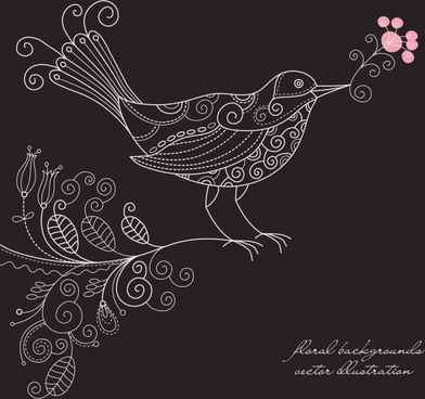 nature fabric pattern bird botany sketch handdrawn design