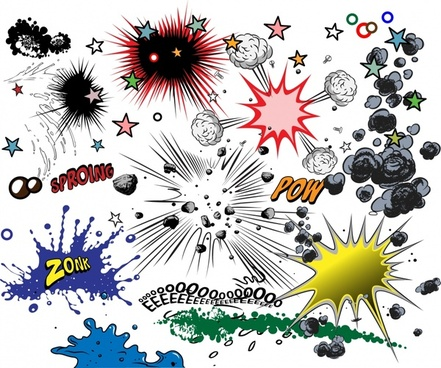 sound animation design elements smoke explosion texts icons