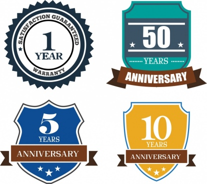 anniversary badge sets various shapes ornament