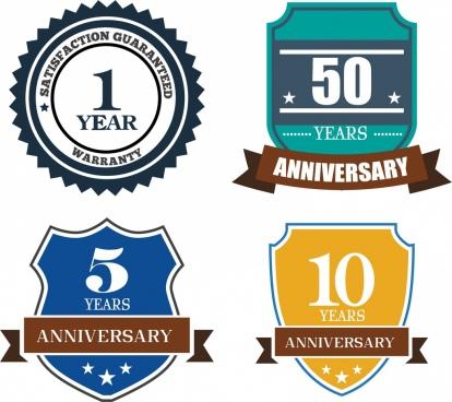 anniversary badge sets various shapes ornament