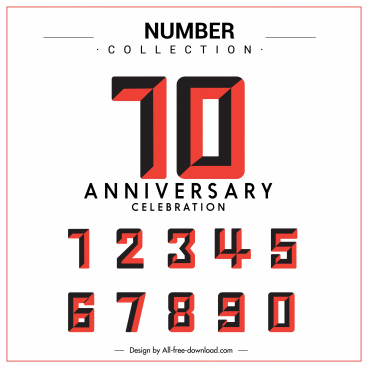 anniversary banner sequence numbers sketch flat classic