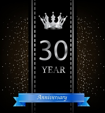 anniversary banner shiny crown icon elegant black design
