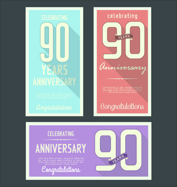 anniversary celebrating vintage flat cards vector