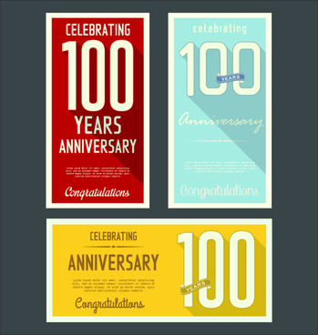 anniversary celebrating vintage flat cards vector