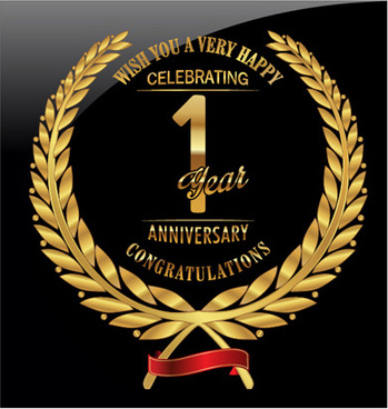 anniversary celebration golden laurel wreath labels vector