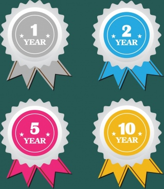 anniversary labels collection serrated circle colorful flat design
