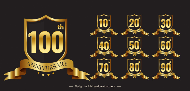 anniversary logo templates luxury golden 3d ribbon shield