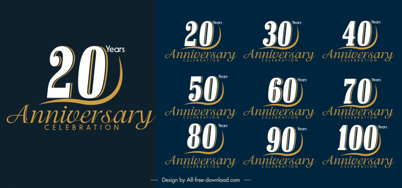 anniversary logotypes elegant number calligraphic decor