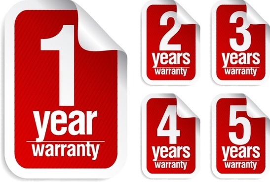 warranty stickers templates modern red white decor