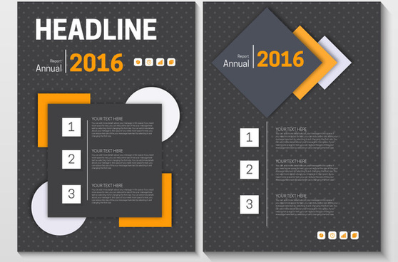 annual report brochure design on dark geometric background