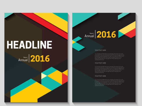 annual report brochure design with modern dark background