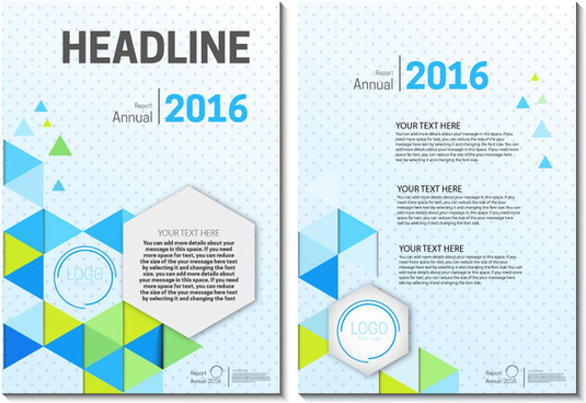 annual report brochure on geometric and spots background