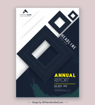 annual report cover template modern squares decor