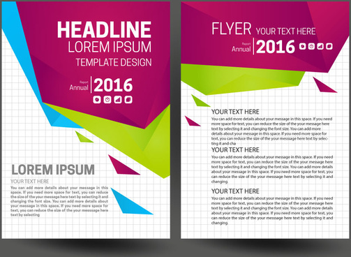 annual report flyer set with modern style background