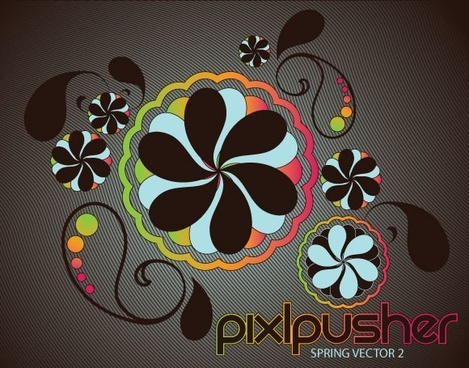 spring flowers background curves dark design style