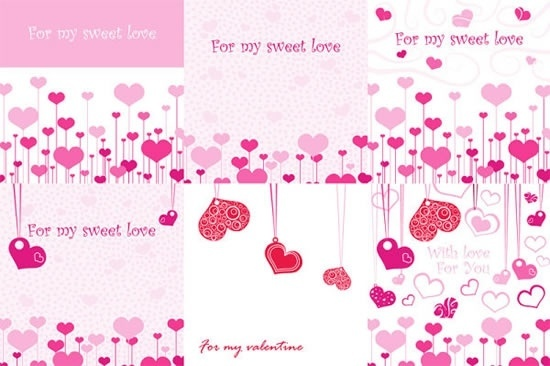 valentines cards templates pink red hearts decor