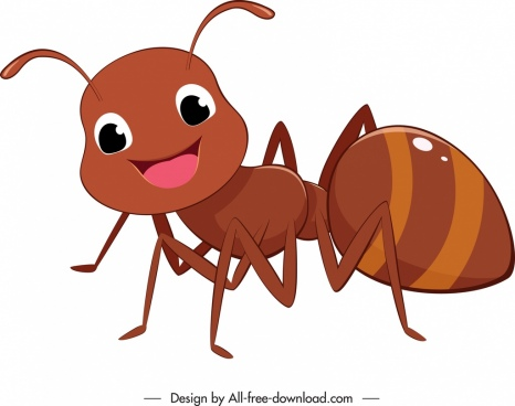 ant icon lovely stylized cartoon sketch