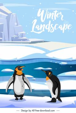 antarctic scene background ice penguine sketch