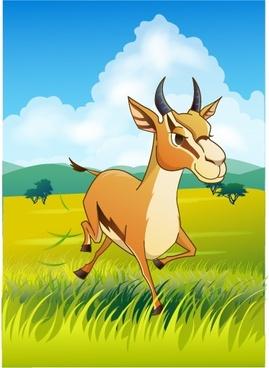 wild animal painting antelope meadow icons cartoon design