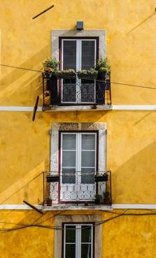 antique architecture balcony brick building
