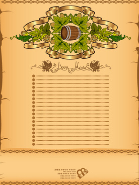 antique beer menu vector background