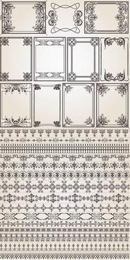 antique border floral vector