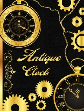 antique clock mechanism background shiny golden design