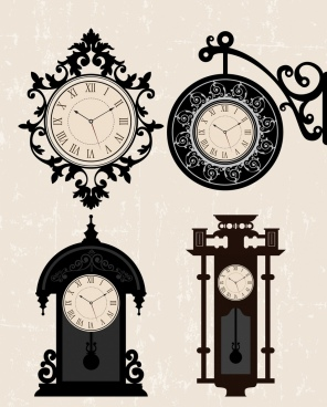 antique clocks templates elegant styles isolation