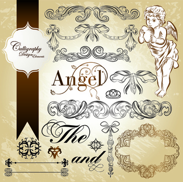 antique decor design elements vector