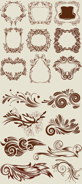 antique floral border vector