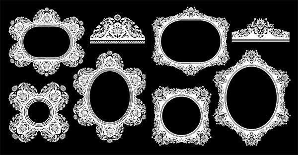antique floral frame vector