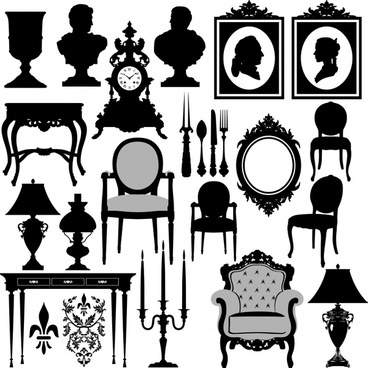 antique furniture icons elegant black silhouette decor