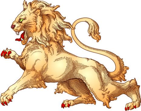 antique lion statue vector