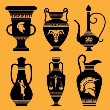 antique pot icons dark flat decor