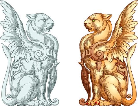 antique statue ornament vectors